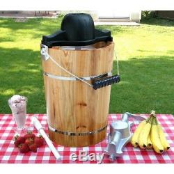 Old Fashioned Ice Cream Maker Homemade 6 qt. Electric Motor Hand Crank Machine