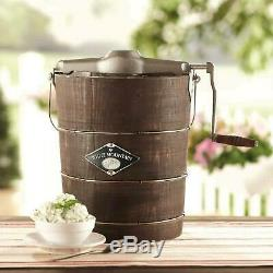 Pine Wood Bucket 6 Quart Canister Hand Crank Homemade Ice Cream Maker Machine