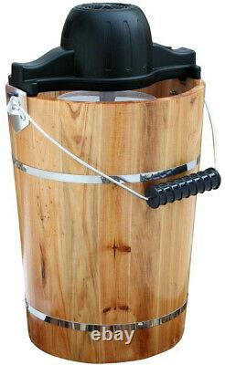 Rustic Farmhouse Old Fashioned Ice Cream Maker Electric withHand Crank Option 6 Qt