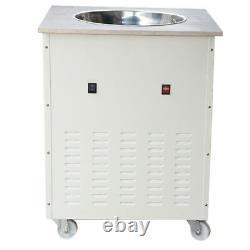 Single Round Pan Fried Ice Cream Roll Machine Milk Yogurt Icecream Maker+Gift US