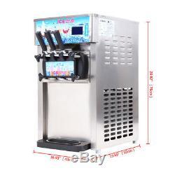 Soft Ice Cream Machine Countertop Frozen Yogurt Maker Mix 3 Flavors Commercial