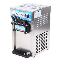 Soft Ice Cream Machine Frozen Yogurt Ice Cream Maker Mix Flavor 3 Flavors 18L/H