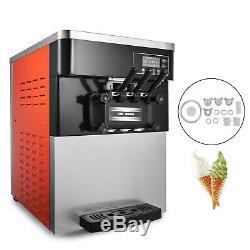 Soft Ice Cream Machine Frozen Yogurt Ice Cream Maker Mix Flavor 3 Flavors 28L/H