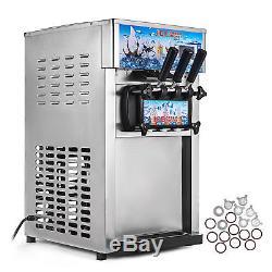 Soft Ice Cream Machine Frozen Yogurt Machine CE 3 Flavors 1200W 18L/H Commercial