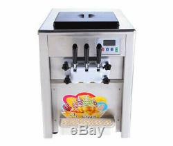 Soft Ice Cream Maker 2+1mix Flavor Twist Soft Ice Cream Making Machine 110V US