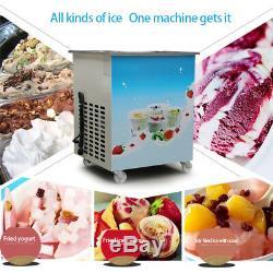 US 1050W Single Round Pan Fried Ice Cream Roll Machine Milk Yogurt Maker Machine