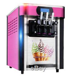 US 3 Flavor Commercial Yogurt Soft Serve Cones Ice Cream Maker Machine