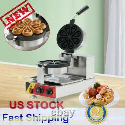 US! Commercial Electric Nonstick Ice Cream Waffle Cone Baker Maker Machine 110V