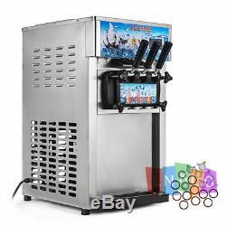 USA Frozen Soft Serve Ice Cream Maker Machine Mix Flavors 3 Head 18L/H 4.75Gal/H