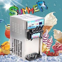 Used 18L/H Soft Ice Cream Making Machine 3-Flavor Countertop Soft Yogurt Maker