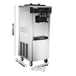 VEVOR 20-28L/H Commercial Soft Serve Ice Cream Maker Machine 3 Flavors with Wheels