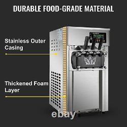 VEVOR Commercial Soft Ice Cream Machine 18L/H 3 Flavors Soft Yogurt Maker 1200W