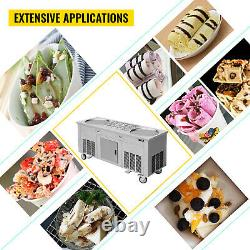 VEVOR Fried Ice Cream Roll Machine Commercial Ice Roll Maker 2-Pan with Cabinet