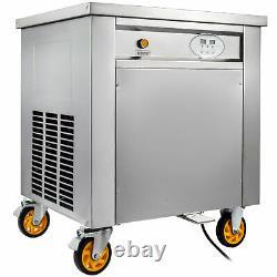 VEVOR Smart Fried Ice Cream Machine Yogurt Roll Maker Square Pan Stainless Steel