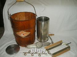Vintage Nice White Mountain Ice Cream Freezer Maker Wood Hand Crank Original