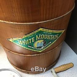 Vintage White Mountain 4 Qt Ice Cream Freezer Wooden Hand Crank Ice Cream Maker