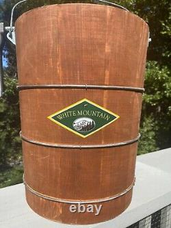 Vintage White Mountain Ice Cream Wooden Hand Crank Ice Cream Maker 6 QT WithManual