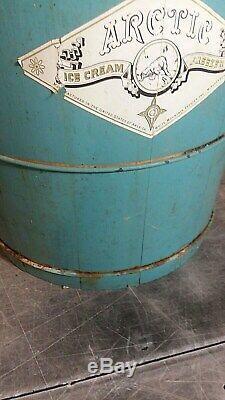 Vintage Wooden Teal Arctic White Mountain Ice Cream Freezer 8 qt Hand Crank
