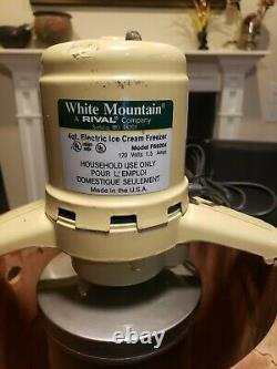 WHITE MOUNTAIN Electric 4 Quart Ice Cream Freezer Maker Model F69204 Made In USA