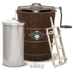 White Mountain 6-Quart Wooden Bucket Hand-Cranked Home Ice Cream Maker Machine