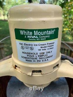 White Mountain 69206 Electric Ice Cream Maker Freezer 6 Quart Working Condition